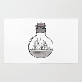 the ship in the bulb . illustration . Rug