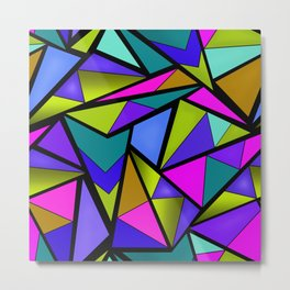 An abstract geometric pattern . Brightly colored triangles . Metal Print