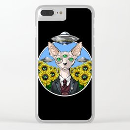 Psychedelic Sphynx Cat Alien Abduction Clear iPhone Case