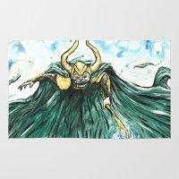 loki Area & Throw Rugs featuring Loki by Crooked Octopus