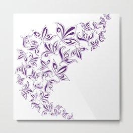 Stylized traced flowers purple Metal Print