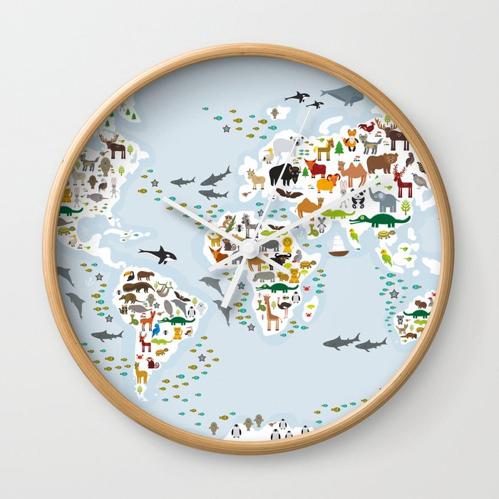 Cartoon animal world map for children and kids animals from all cartoon animal world map for children and kids animals from all over the world wall gumiabroncs Choice Image