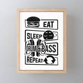 Eat Sleep Drum & Bass Repeat - Party Festival Beat Framed Mini Art Print