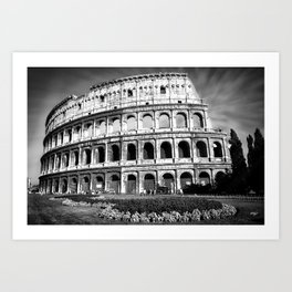 Black and White Colosseum Art Print