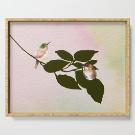 Watercolor Hummingbirds on a Branch Serving Tray