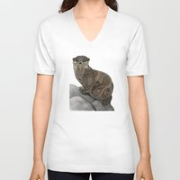 otter V-neck T-shirts featuring Otter by ZHField