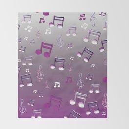 Purple Notes Throw Blanket