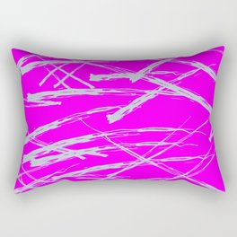 Neon Magenta background with Rough Blue Grey Paint Strokes, Teenage Girl Bedding Rectangular Pillow