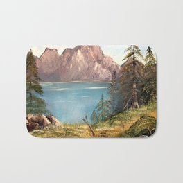 European Mountains Landscape Painting Bath Mat