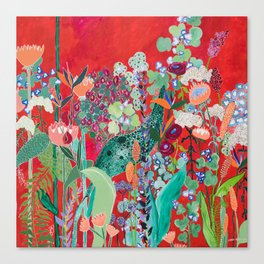 Red floral Jungle Garden Botanical featuring Proteas, Reeds, Eucalyptus, Ferns and Birds of Paradise Leinwanddruck
