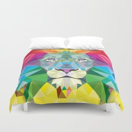 Geometric Rainbow Lion Duvet Cover