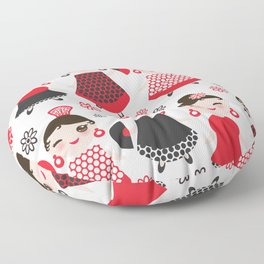 Seamless pattern spanish Woman flamenco dancer. Kawaii cute face with pink cheeks and winking eyes. Floor Pillow