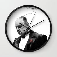 the godfather Wall Clocks featuring The Godfather by Printer's Devil