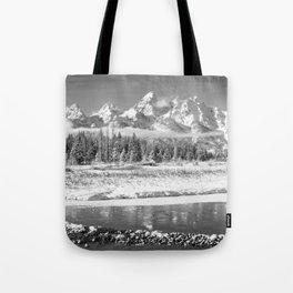 Grand Teton Winter Black & Winter Wyoming National Park Mountain Landscape Tote Bag