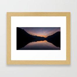 Sunrise over a mountain lake Framed Art Print