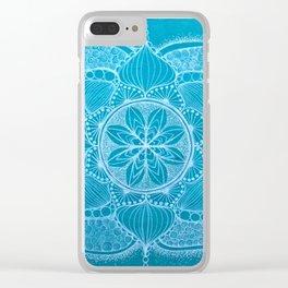 Teal & White Hand-drawn Mandala Clear iPhone Case