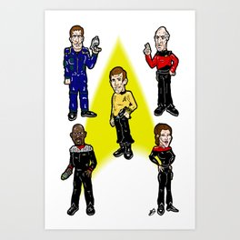 Want To Boldy Go...?  Just choose your captain! Star Trek's Sisko, Janeway, Archer, Kirk and Picard Art Print