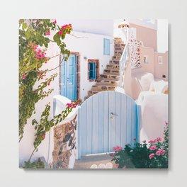 Santorini, Floral Garden Metal Print