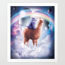 Rainbow Llama - Cat Llama Art Print