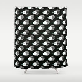 Bold Black and White Abstract Shower Curtain