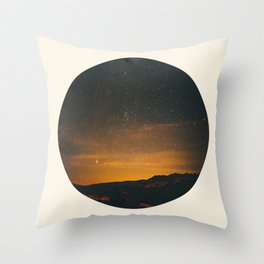 Vintage Sunset Mountain With Star Sky Throw Pillow