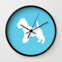 westie Wall Clocks featuring West Highland White / Westie  by Erin Rea