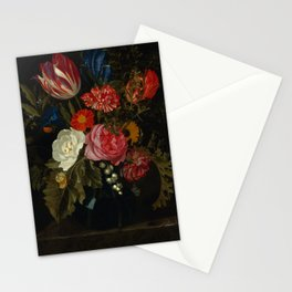 """Maria van Oosterwijck """"Flowers in a vase on a marble ledge"""" Stationery Cards"""