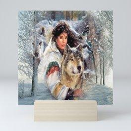 Mountain Woman With Wolfs Mini Art Print