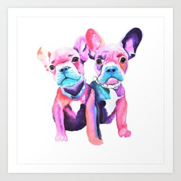 Two Frenchies Art Print