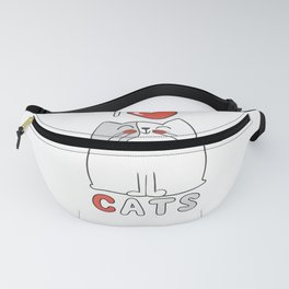 I Love Cats Big Red Heart Fanny Pack