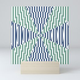 Crossing the lines - the blue and green optical illusion Mini Art Print