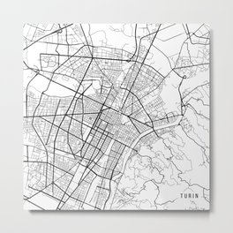 Turin Map, Italy - Black and White Metal Print