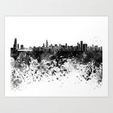 Chicago skyline in black watercolor Art Print