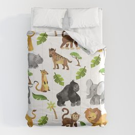 Safari Animals Pattern Watercolor Comforters