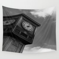 clock Wall Tapestries featuring Clock by Jennifer Kimberly