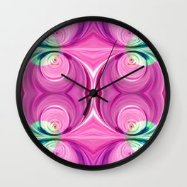 Light green circles on pink Wall Clock