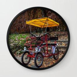 Rickshaw bicycle in a city park Wall Clock