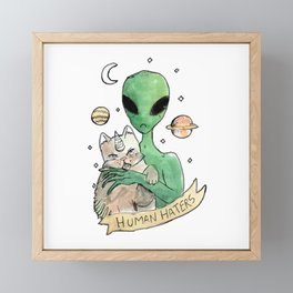 aliens and cats are human haters Framed Mini Art Print
