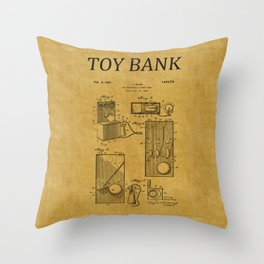 Toy Bank Patent 17 Throw Pillow