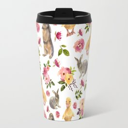 Cute ducks and rabbits with flowers Travel Mug
