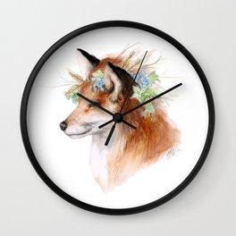 Flower Crowned Fox Wall Clock