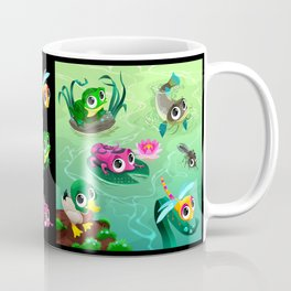 Funny animals in the pond Coffee Mug