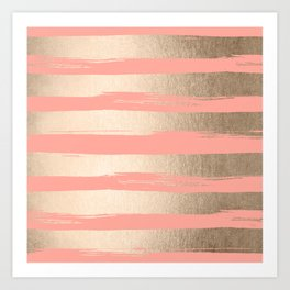 Painted Stripes Tahitian Gold on Coral Pink Art Print