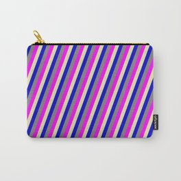 Pale Goldenrod, Blue, Grey, and Fuchsia Colored Stripes Pattern Carry-All Pouch