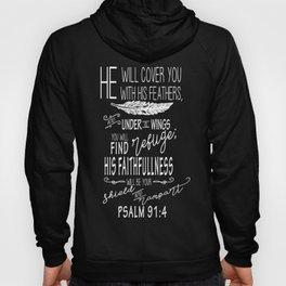Psalm 91:4 Christian Bible Verse Typography Design Hoody