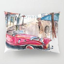 Red retro car Pillow Sham