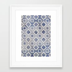Worn & Faded Navy Denim Moroccan Pattern in grey blue & white Framed Art Print