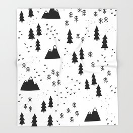 Woods in White Throw Blanket