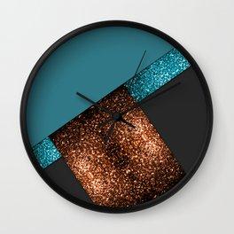 Aqua blue and bronze sparkles modern color block art Wall Clock