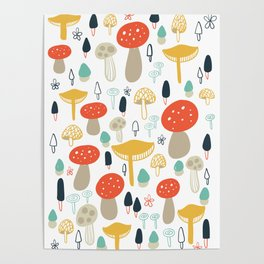 Forest Mushrooms Poster